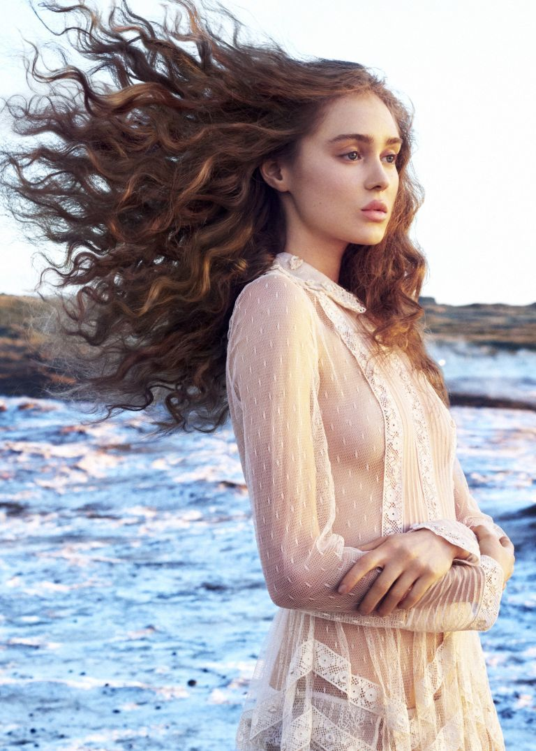 Hair extensions blowing in wind