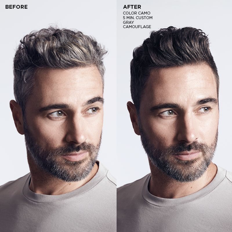 Mens hair before and after grey coverage treatment