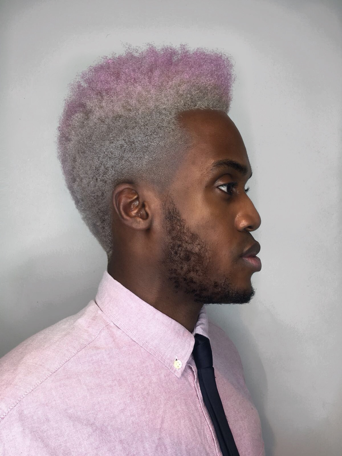 Man with pink hair