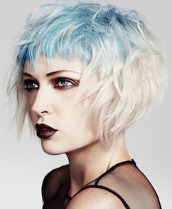 Blue and Blonde dimensional colors on short womens hair